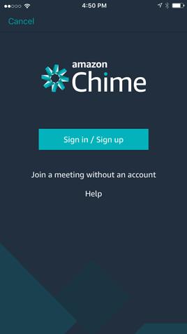 Amazon Chime login screen